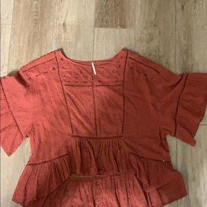 Free People terra-cotta blouse